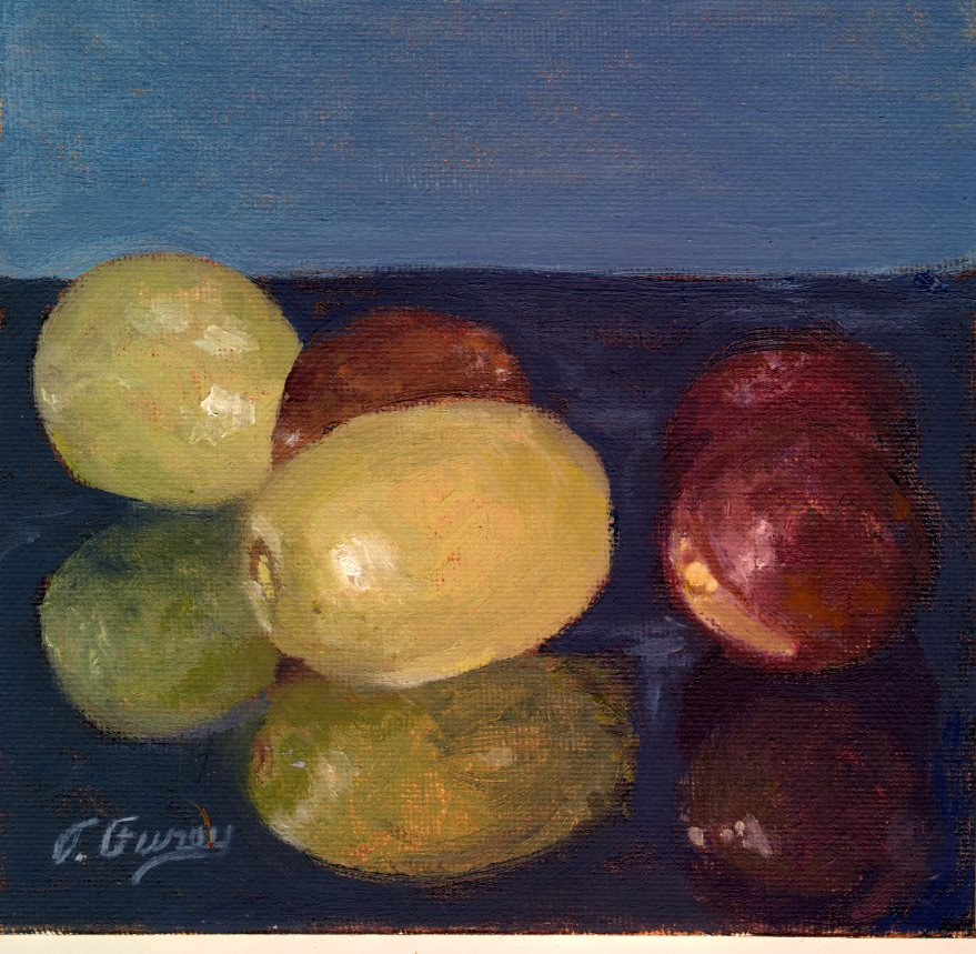 "Red and Green Grapes, Alla Prima Oil Painting on Panel, 6"" x 6""."