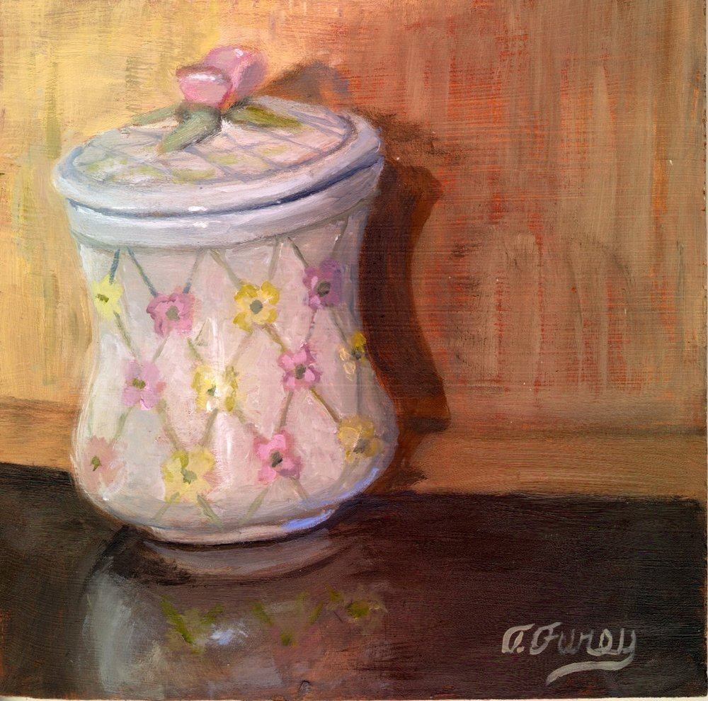 "Jennifers Container, Alla Prima Oil Painting on Board, 8"" x 8""."