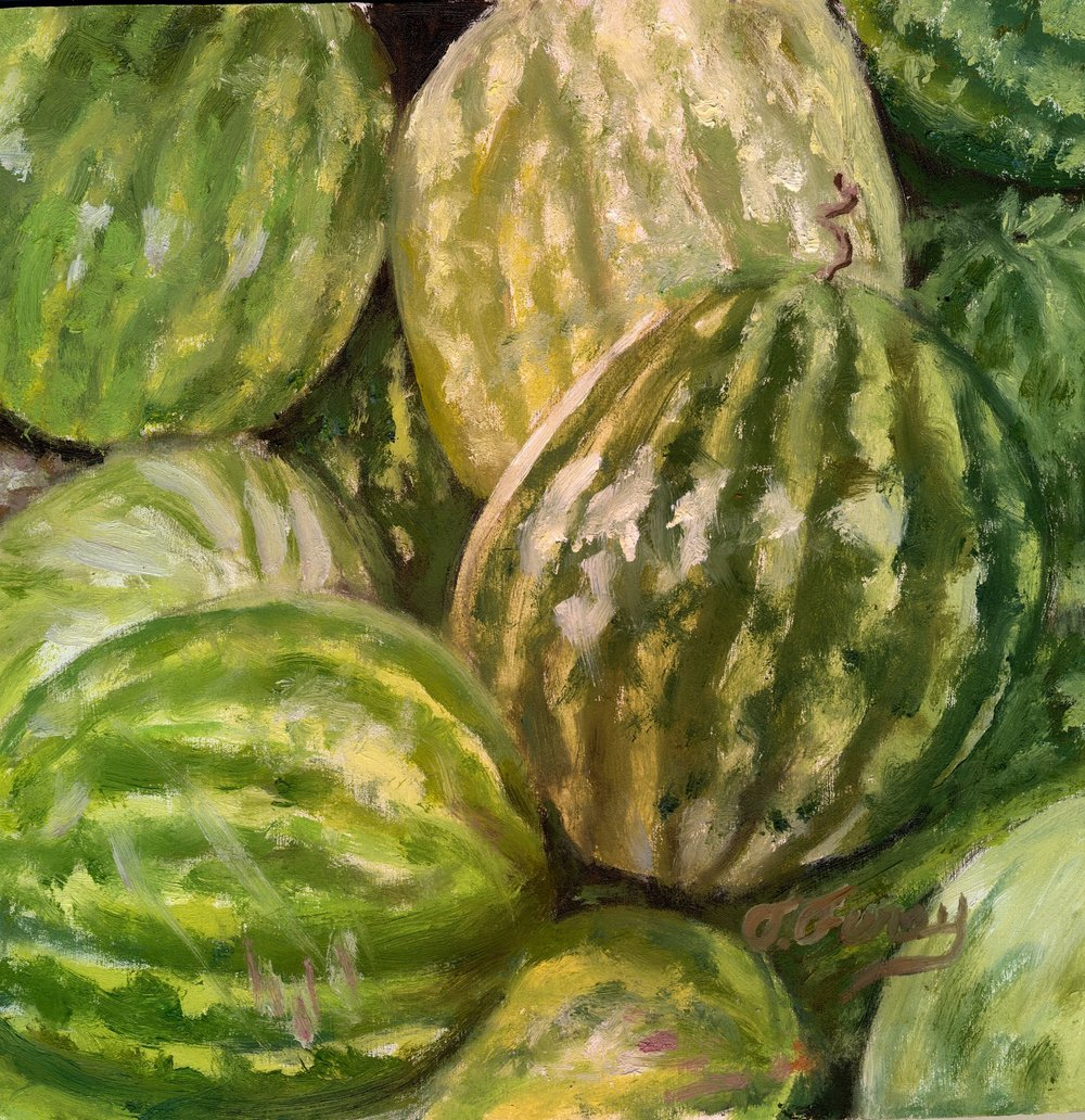 "Watermelon Gang, Alla Prima Oil Painting on Board, 8"" x 8""."