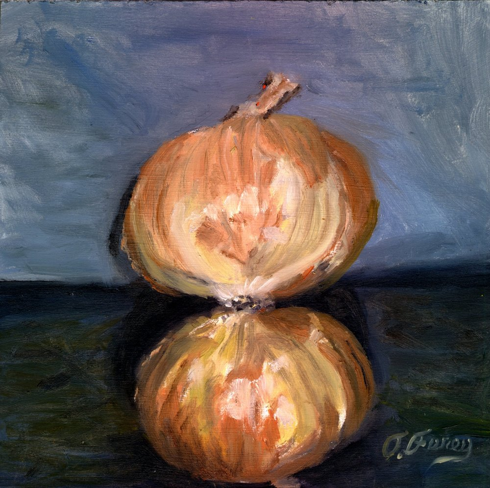 "Onion Reflection, Alla Prima Oil Painting on Board, 8"" x 8""."