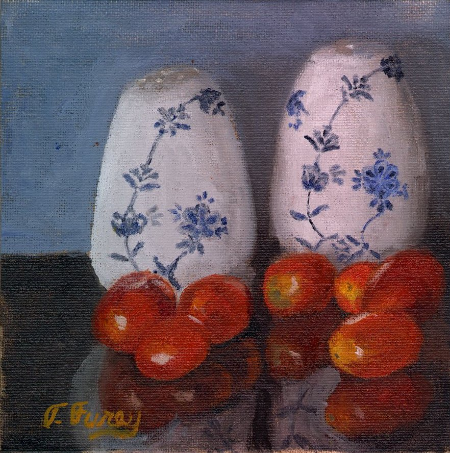 "SALT AND PEPPER, Alla Prima Oil Painting on Panel, 6"" x 6""."