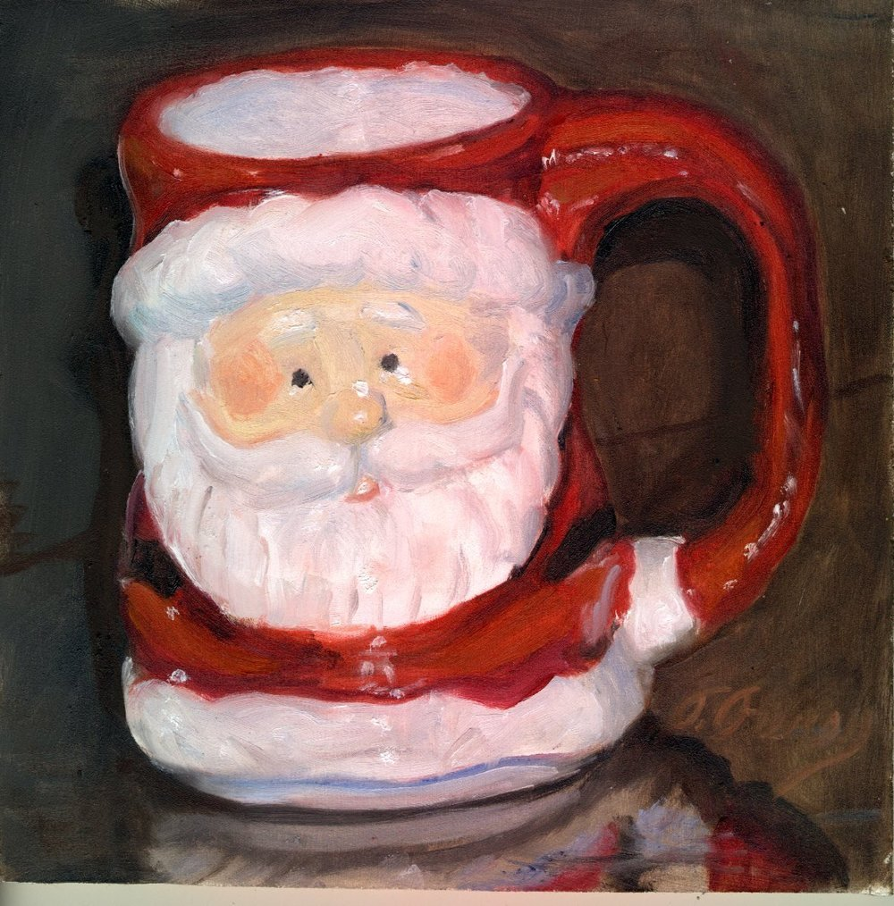 "Santa Mug, Alla Prima Oil Painting on Board, 8"" x 8""."