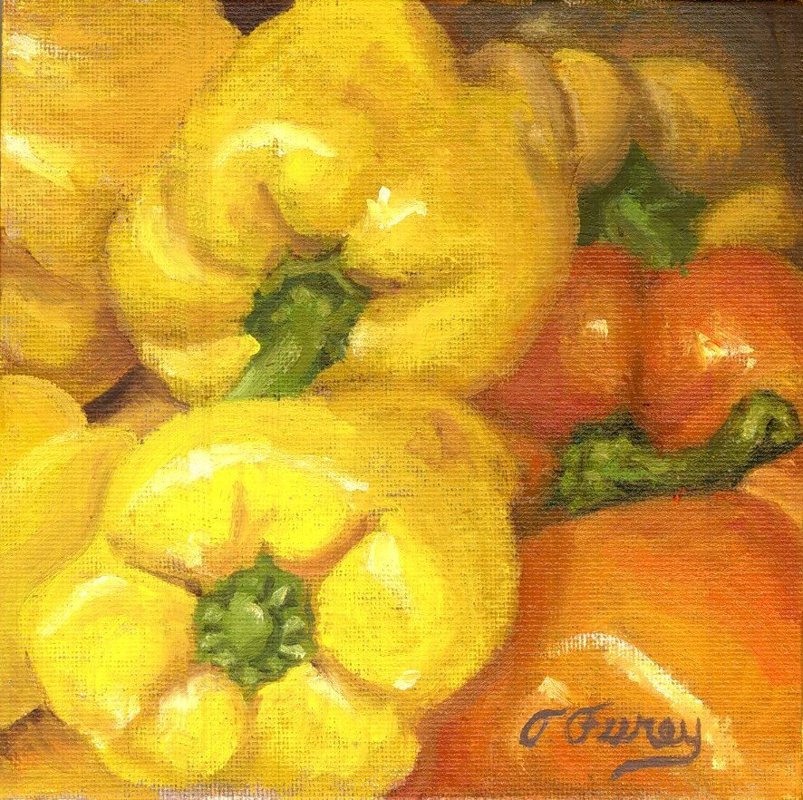 "Yellow and Orange Peppers, Alla Prima Oil Painting on Panel, 6"" x 6""."