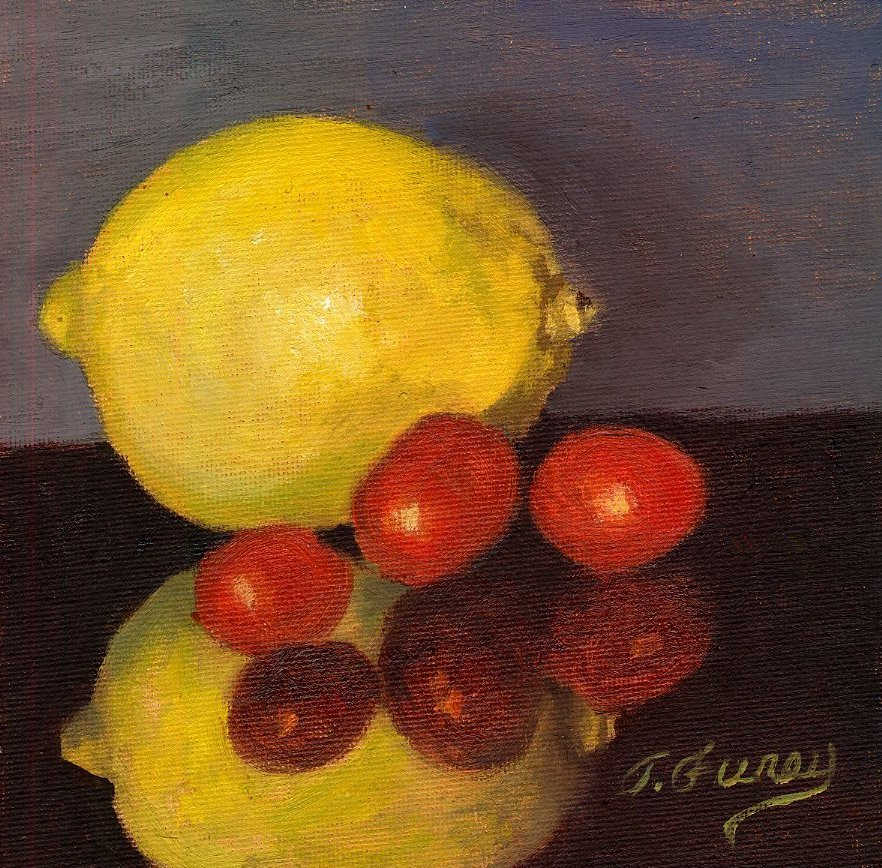 "Lemon 3 Tomatoes, Alla Prima Oil Painting on Panel, 6"" x 6""."