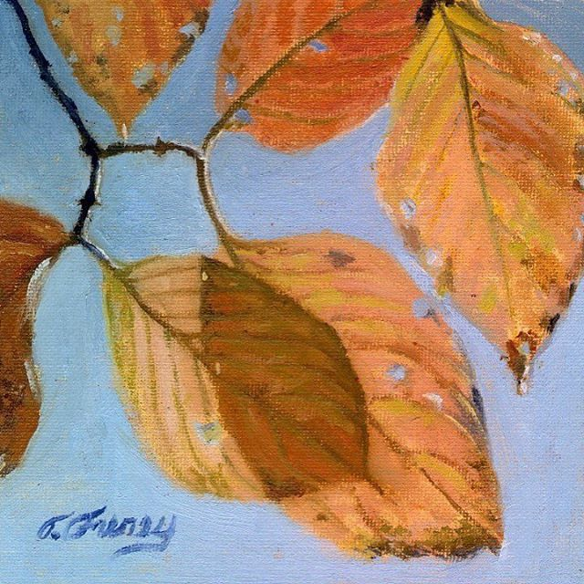 #autumnleaves #Allaprima 6x6 oil on board #oils #oilpainter #buckscounty #buckscountyartist #fineart #autumncolors #autumn #PA #tomfureyartist