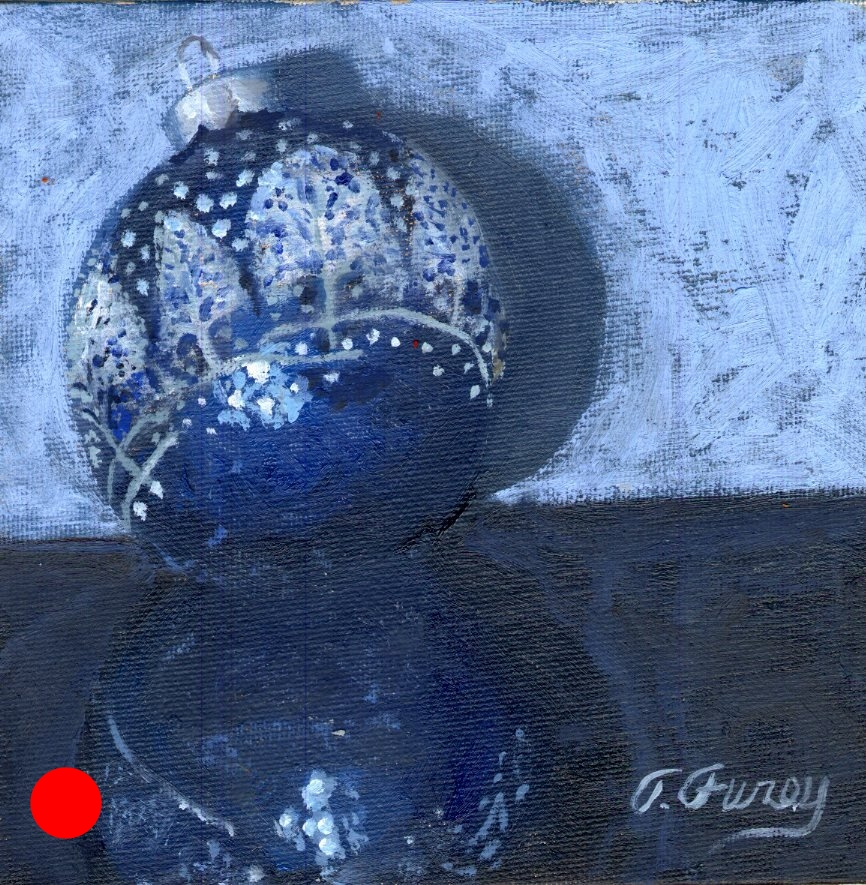 "Christmas Deco 2, Alla Prima Oil Painting on Panel, 6"" x 6"""