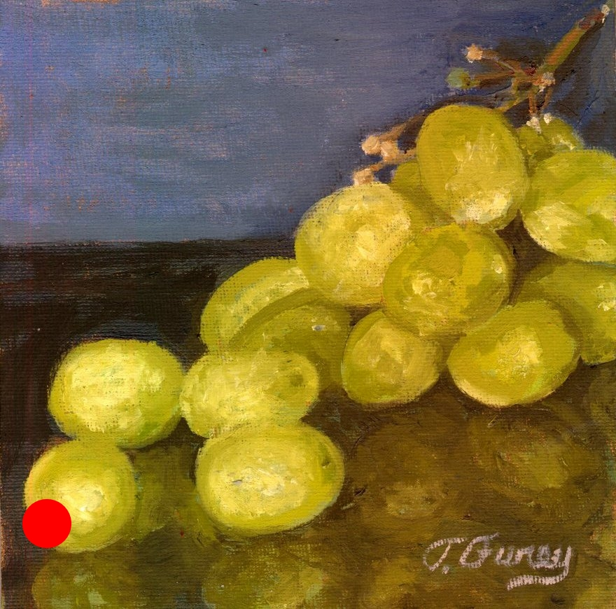 "Green Grapes , Alla Prima Oil Painting on Panel, 6"" x 6""."