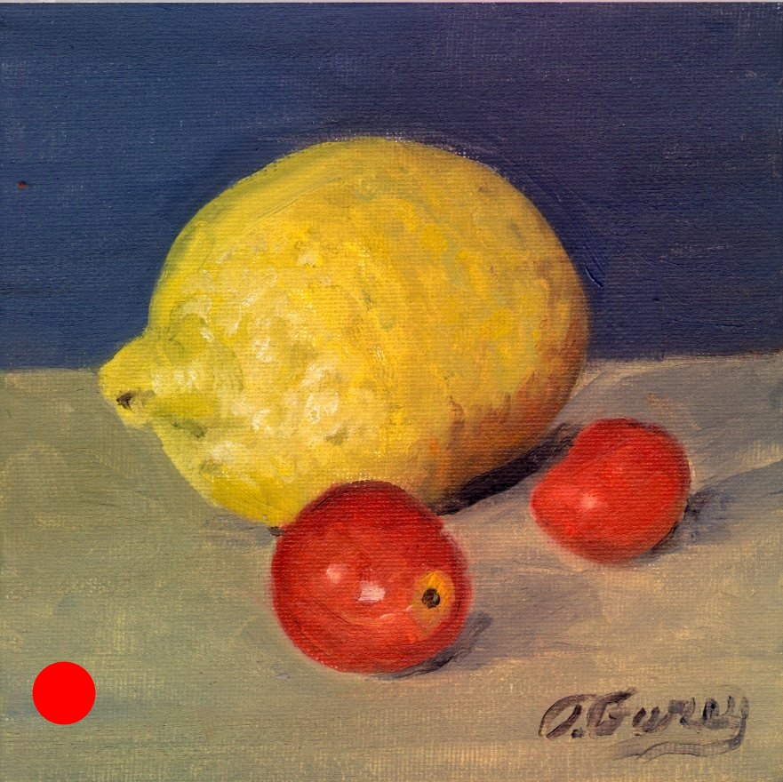 "Lemon and Cherry Tomatoes, Alla Prima Oil Painting on Panel, 6"" x 6""."