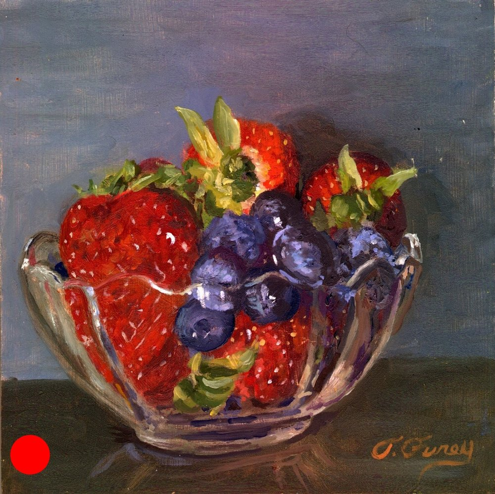 "Strawberry and Blueberry in Glass Cup, Alla Prima Oil Painting on Panel, 8"" x 8""."