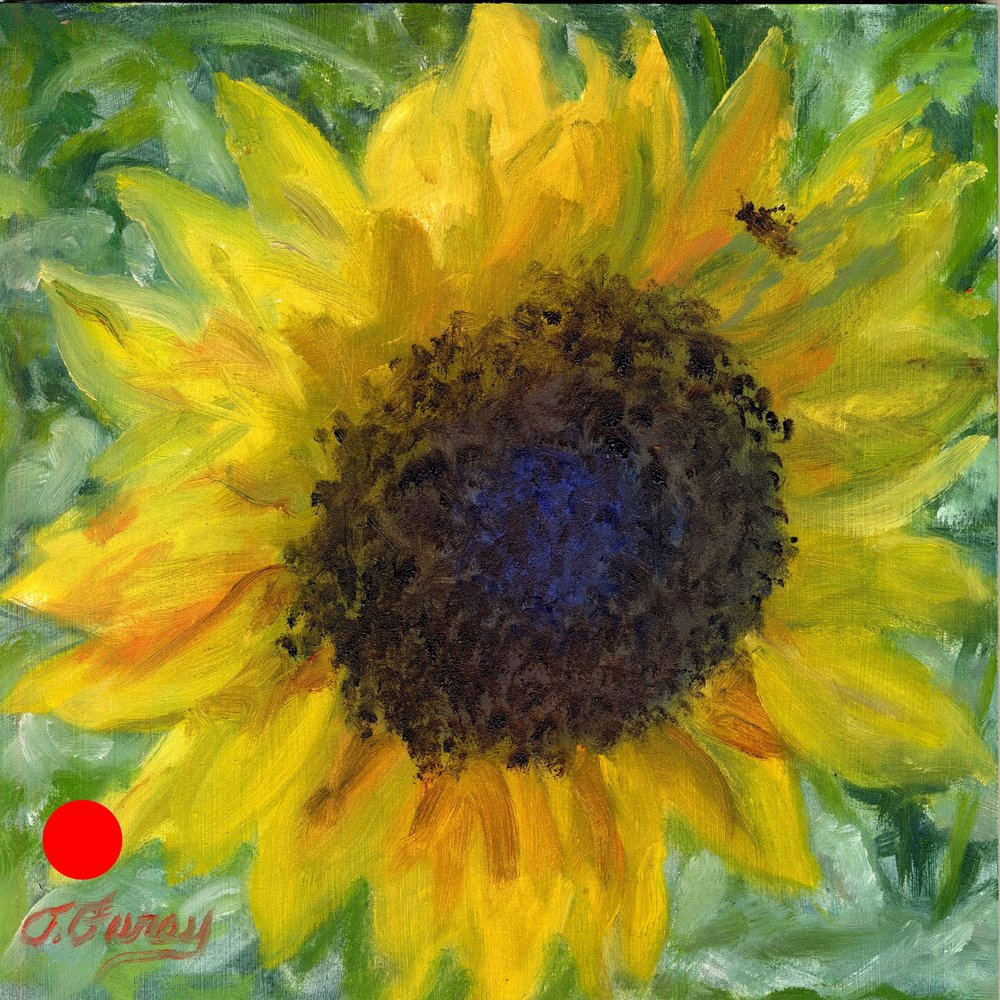 "Sunflower, Alla Prima Oil Painting on Board, 8"" x 8""."