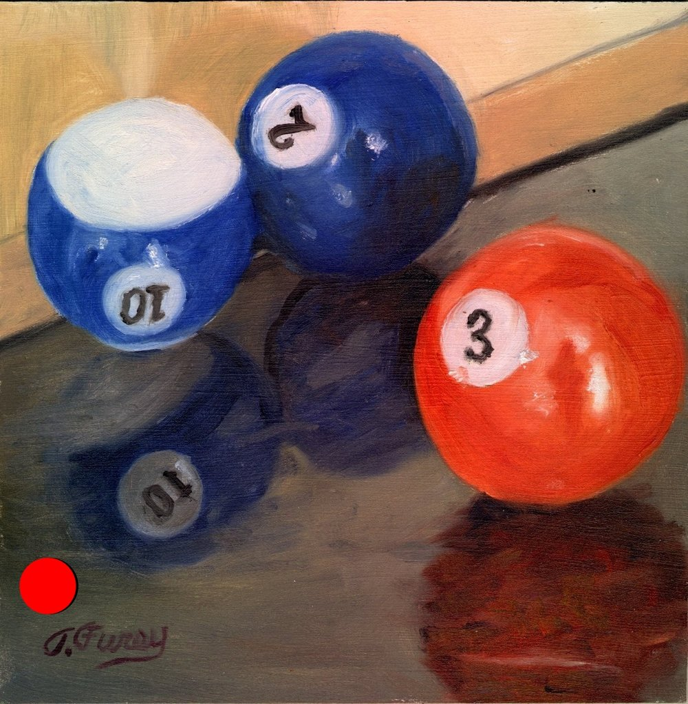 "Three Pool Balls, Alla Prima Oil Painting on Board, 8"" x 8""."