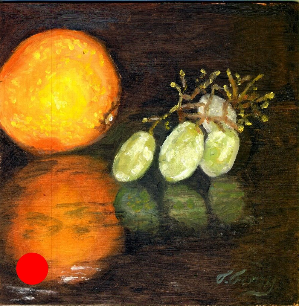 "Four Grapes and an Orange, Alla Prima Oil Painting on Board, 8"" x 8""."