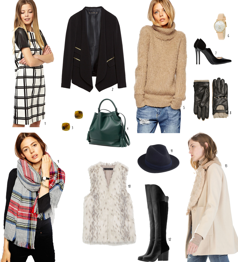 1 : shift dress 2 : black blazer 3 : tortoise shell earrings 4 : emerald green leather bag 5 : camel sweater 6 : leather band watch 7 : black pumps  8 : riding gloves 9 : plaid scarf 10 : fur vest 11 : fedora 12 : knee high boots 13 : winter coat