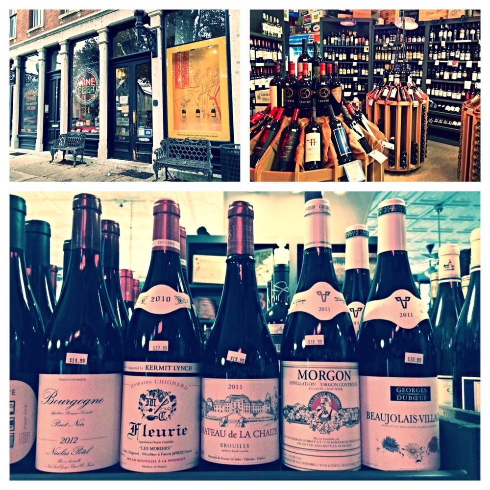 Hausfrau Haven inColumbus, OH. A great resource for good wines of every type and price! Bottom picture shows a few options of Beaujolais wines- a great choice for Thanksgiving!