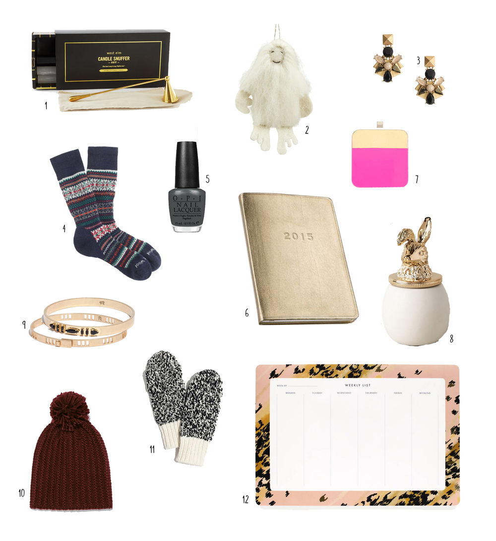 1: Candle Snuffer 2: Yeti Ornament 3: Sparkly Earrings 4: Smart Wool Socks 5: OPI Nail Polish 6: 2015 Calendar 7: Iphone Charger 8: Candle 9: Gold Bangles 10: Knitted Hat 11: Mittens 12: Weekly Notepad