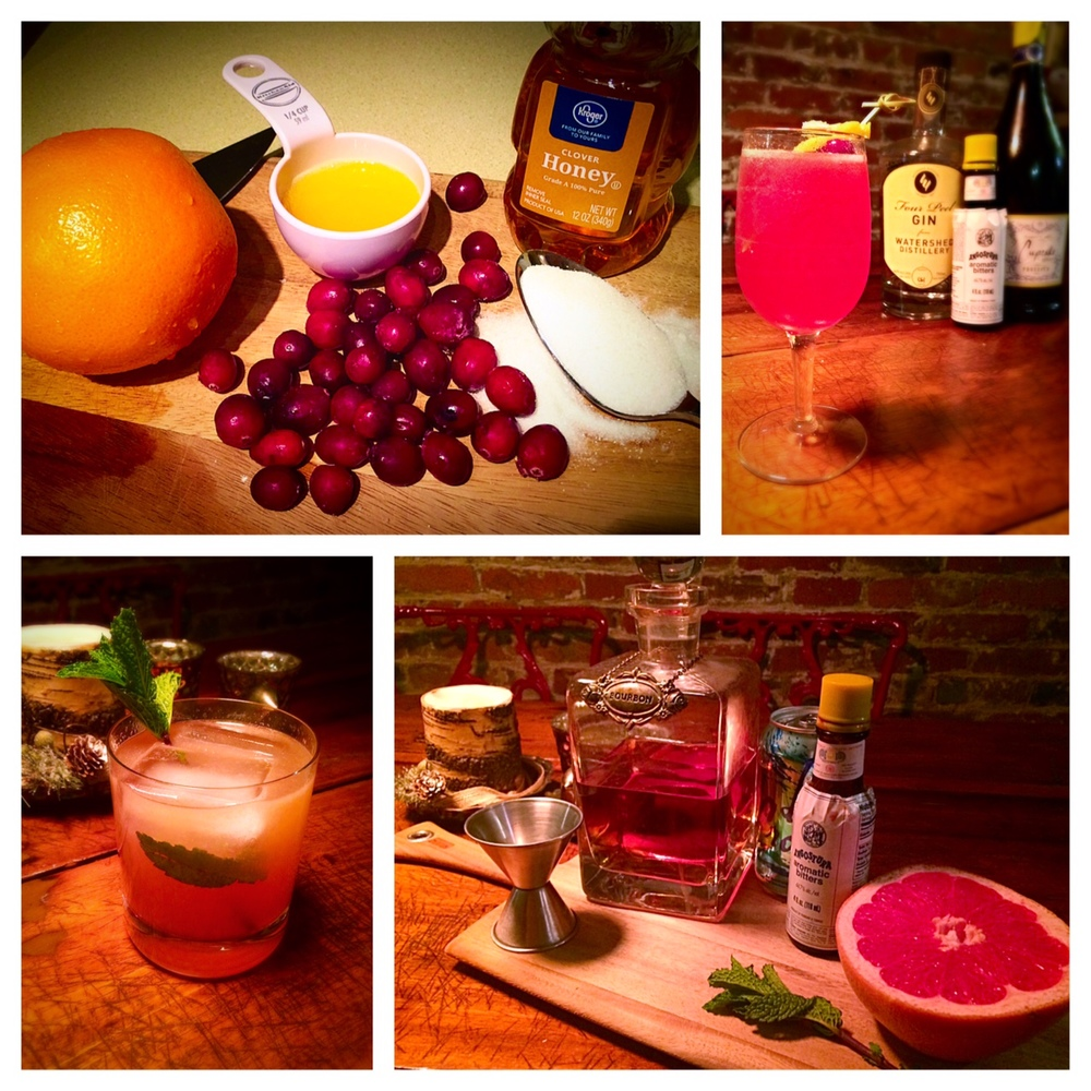 Trials and moderately successful versions of a Cranberry Gin Sparkling cocktail and a Bourbon, Mint and Grapefruit cocktail. They look very pretty though, don't they?