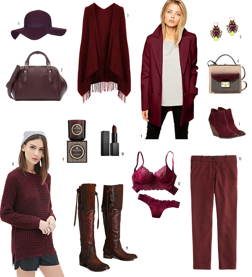 1: floppy hat  2: bowling bag  3: cape  4: coat  5: sparkly earrings  6: purse  7: wedges  8: sweater  9: Voluspa candle  10: Nars deep aubergine lipstick  11: boots  12: intimates  13: wool pants