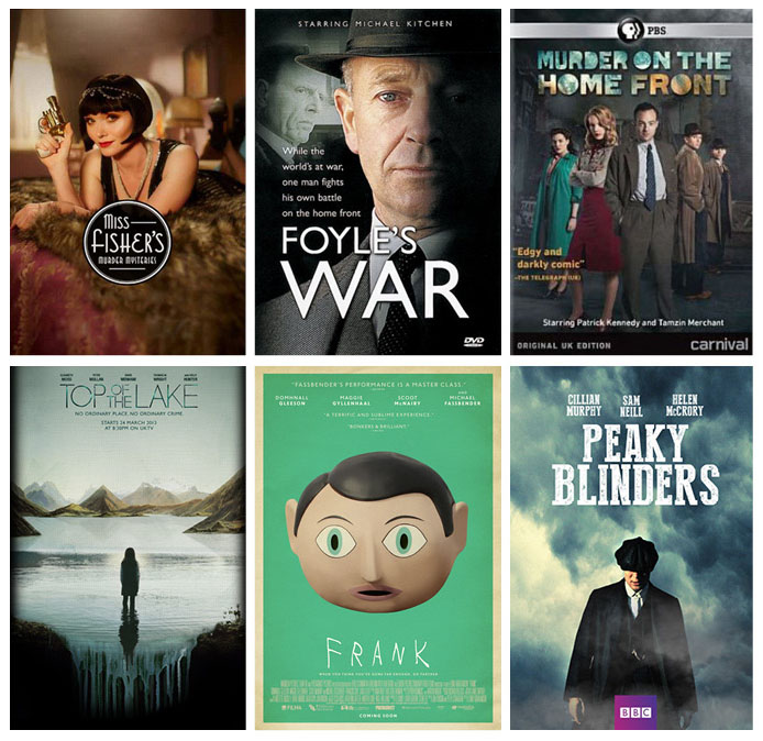 Netflix picks:Top: Miss Fisher's Murder Mysteries, Foyle's War, Murder on the Home Front; Bottom: Top of the Lake, Frank, Peaky Blinders