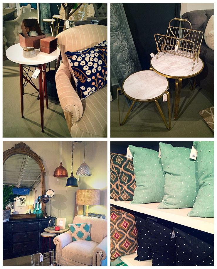 Gorgeous end tables, pendant lights, and pillows at Objects for the Home- Grandview, Columbus, OH