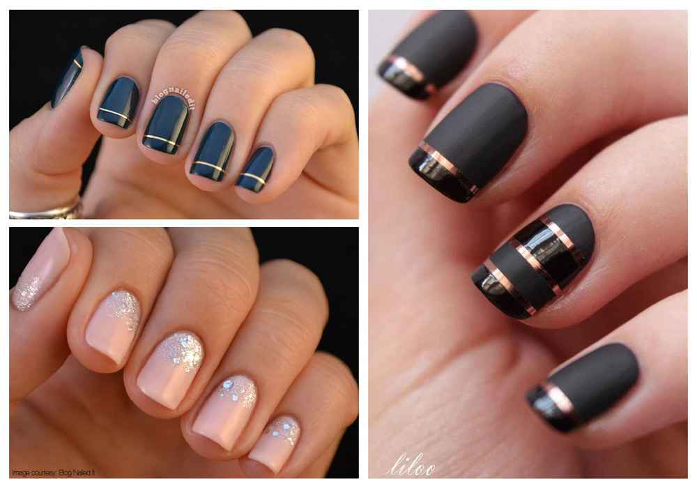 Navy and gold nails and light pink with a touch of sparkle from the blog Nailed It (a great source for nail inspiration!) Gorgeous matte and shiny striped nails via Pinterest.
