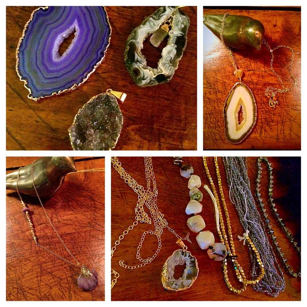 Beautiful gemstone pendants and a few necklaces I've made with them!