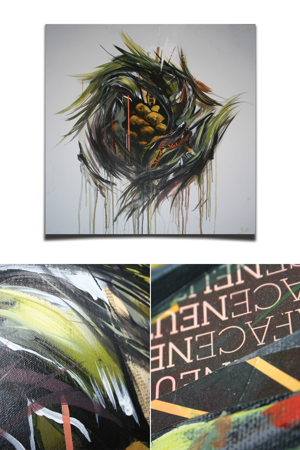 Nest by Dominic Damien. Mixed media on canvas.