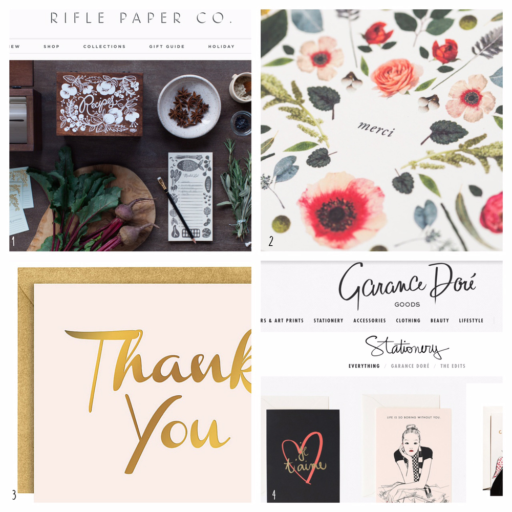 1. Rifle Paper Co 2.House that Lars Built 3. Paper Source 4. Garance Dore Goods