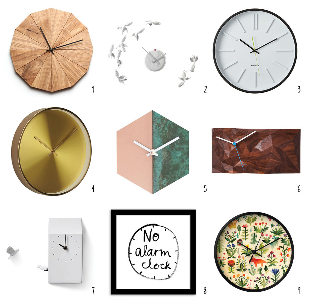 """1. Urban Ash Clock by Strand Design; 2. Goldfish Clock by Haoshi; 3. Colley Wall Clock at Crate & Barrel; 4. Karat Wall Clock at CB2; 5. Patina Clock by Cofield; 6. 12"""" Block Clock by Such + Such; 7. Cuckoo Clock by Haoshi; 8. Kate Spade Saturday Art Clock at West Elm;      9. Garden Wall Clock at Society 6."""