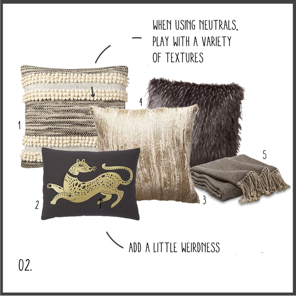 1. textured stripe 2. gold leopard 3. gold 4. faux feather 5. herringbone throw