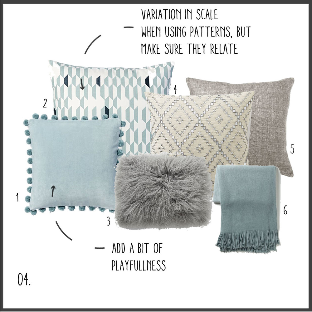 1. light blue pom poms 2. small diamonds 3. light gray fur 4. silver diamonds 5. gray linen 6. blue ombre throw