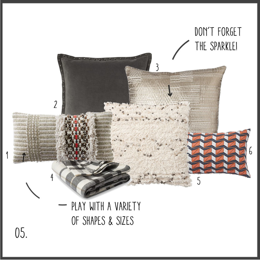 1. ruffled texture 2. gray linen 3. textured gold 4. gray plaid throw 5. textured sparkle 6. orthogonal shapes