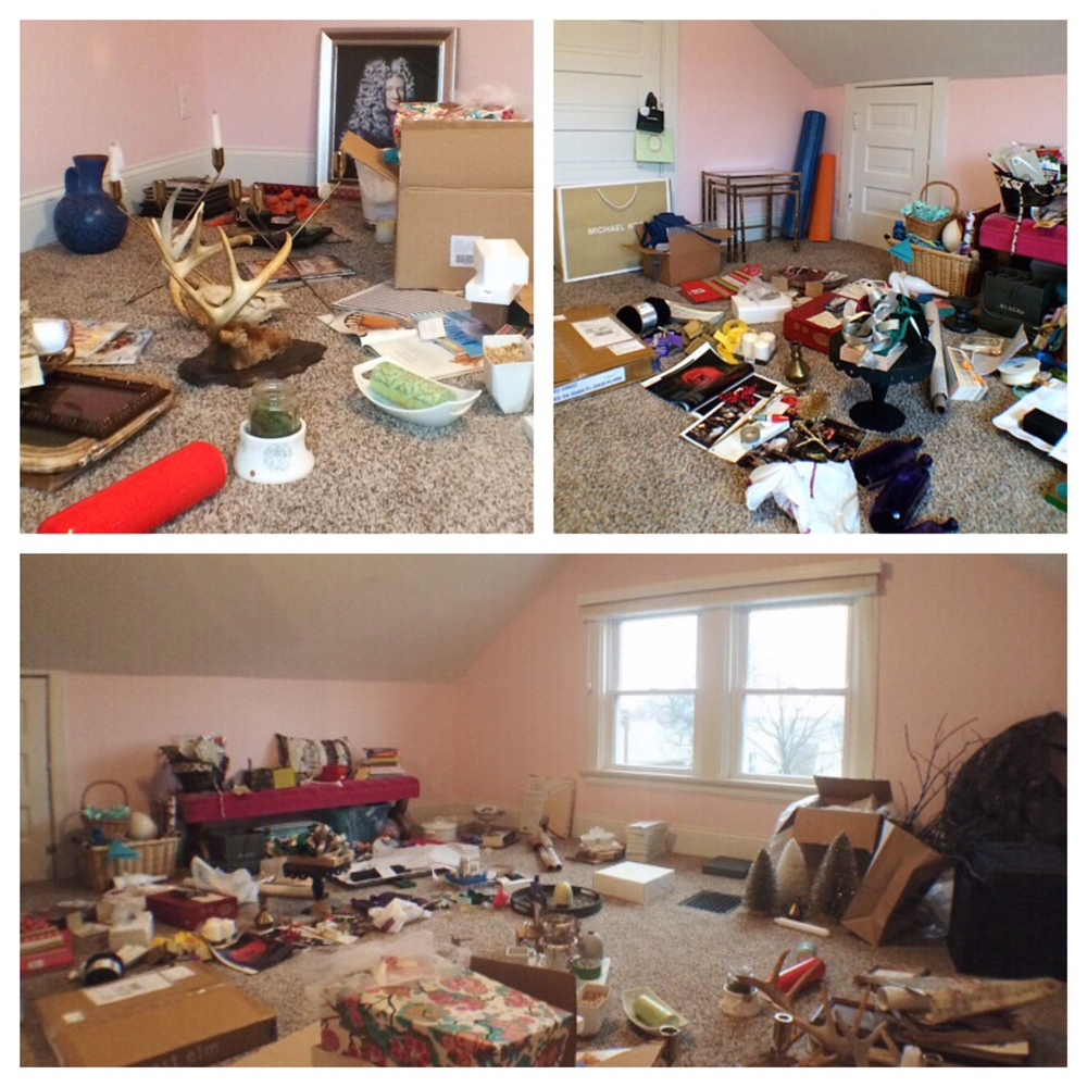 The original disaster that the pink room was filled with... lots of projects, decor & inspiration!