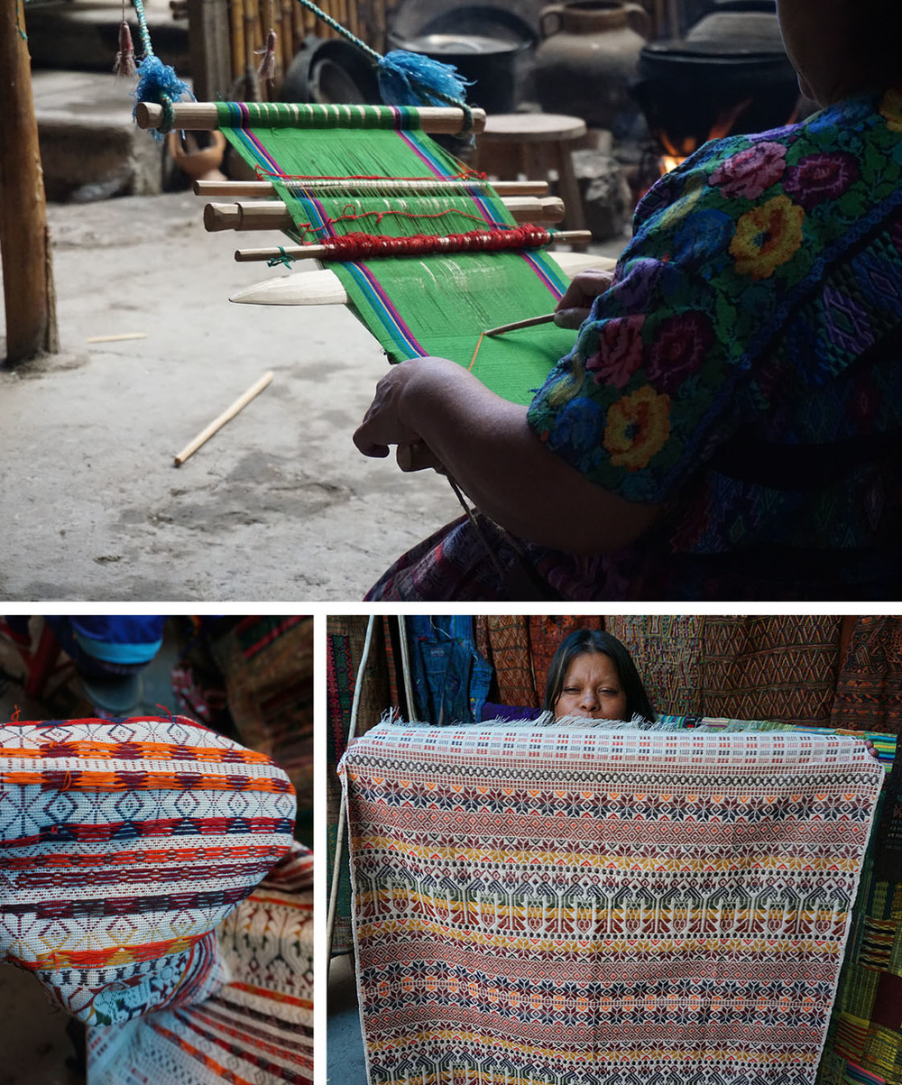 Most of the weaving is done by women using a back-strap loom, though some tourist-oriented production has moved to machines. The hand-crafted pieces can take from one month to six to create, depending on the intricacy and size.