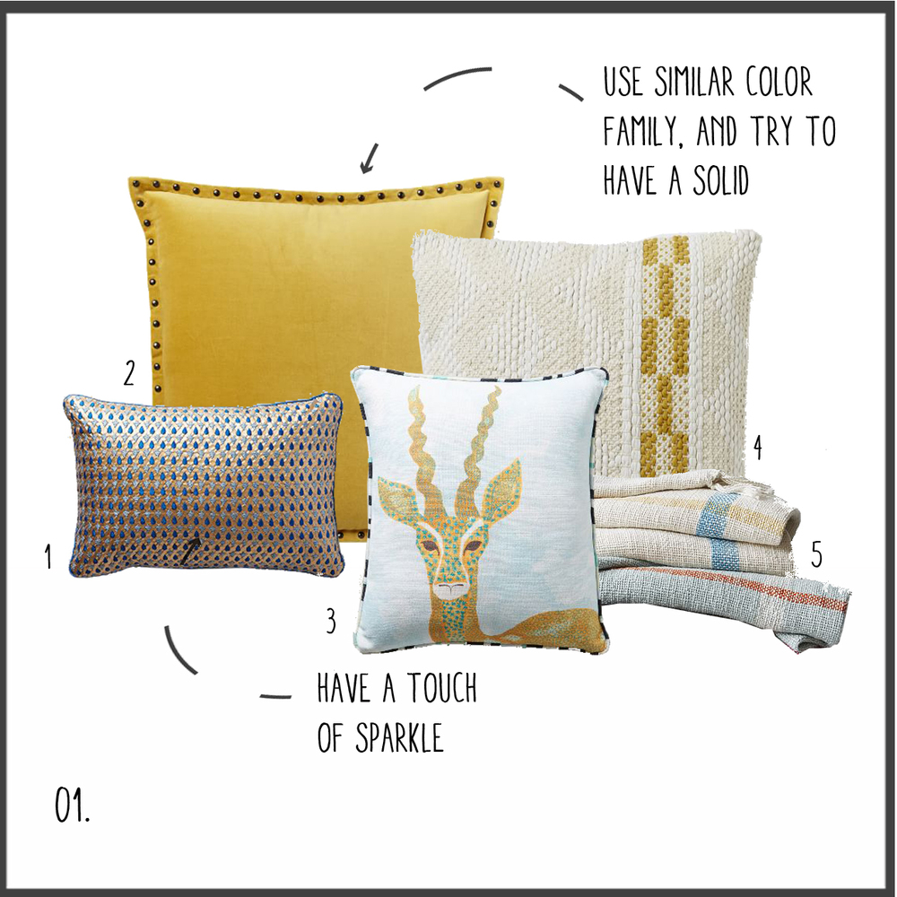 1. blue & gold 2.golden velvet 3. antelope 4. cream sweater 5. plaid throws