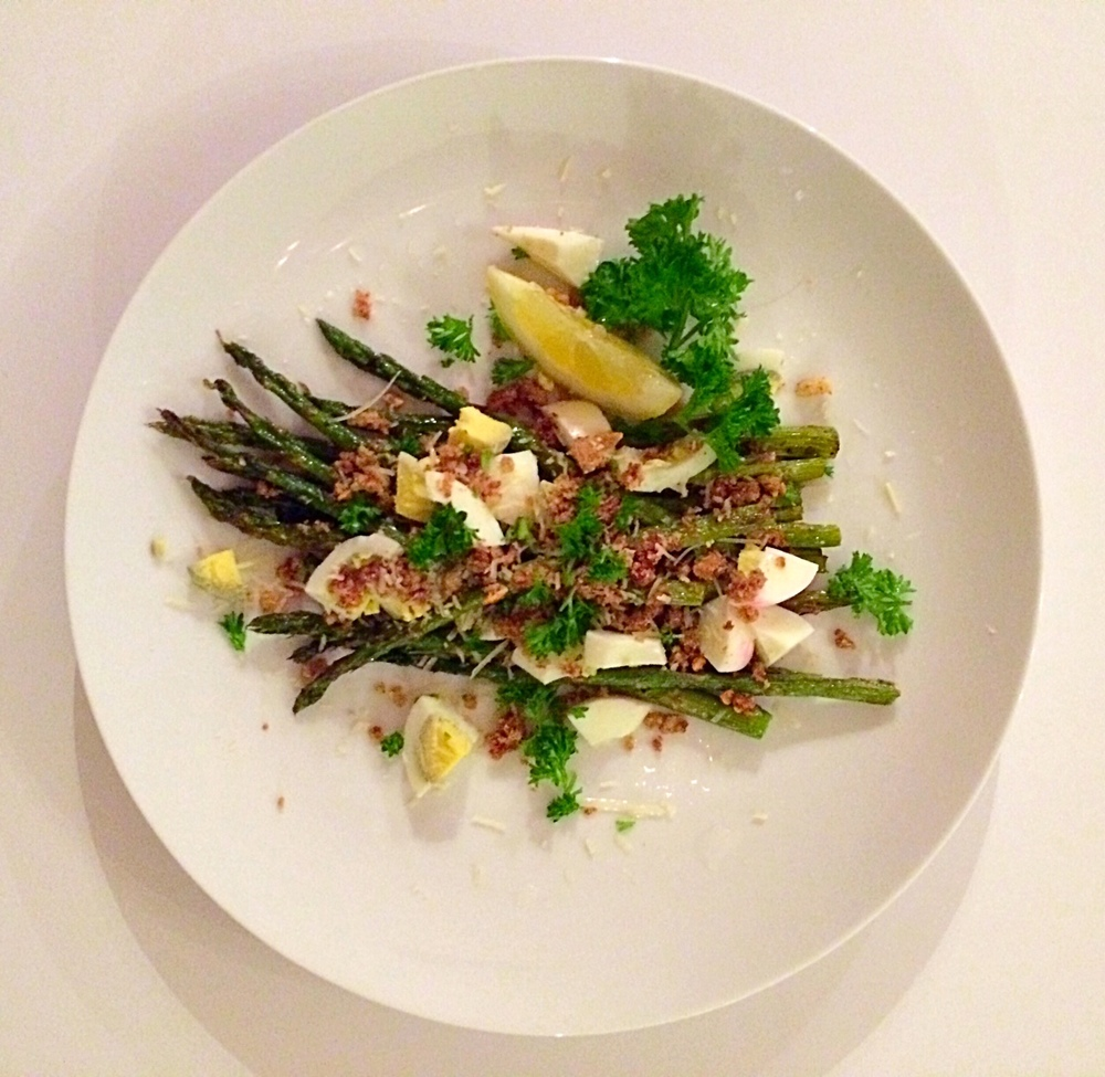 Roasted Asparagus with Buttery Garlic Breadcrumbs and a Hard-Boiled Egg. So good!
