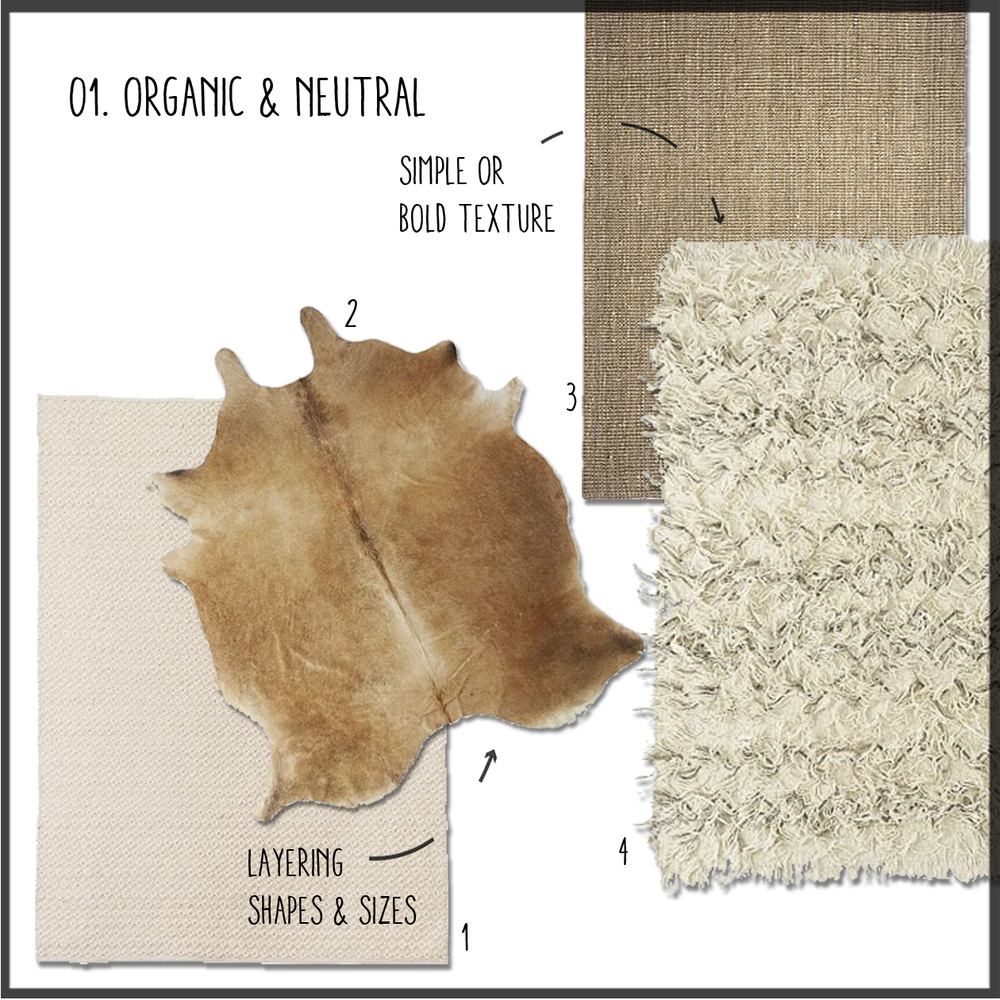 1.Diamond & Neutral   2.Caramel Cowhide   3. Natural Jute   4.Wool Shag