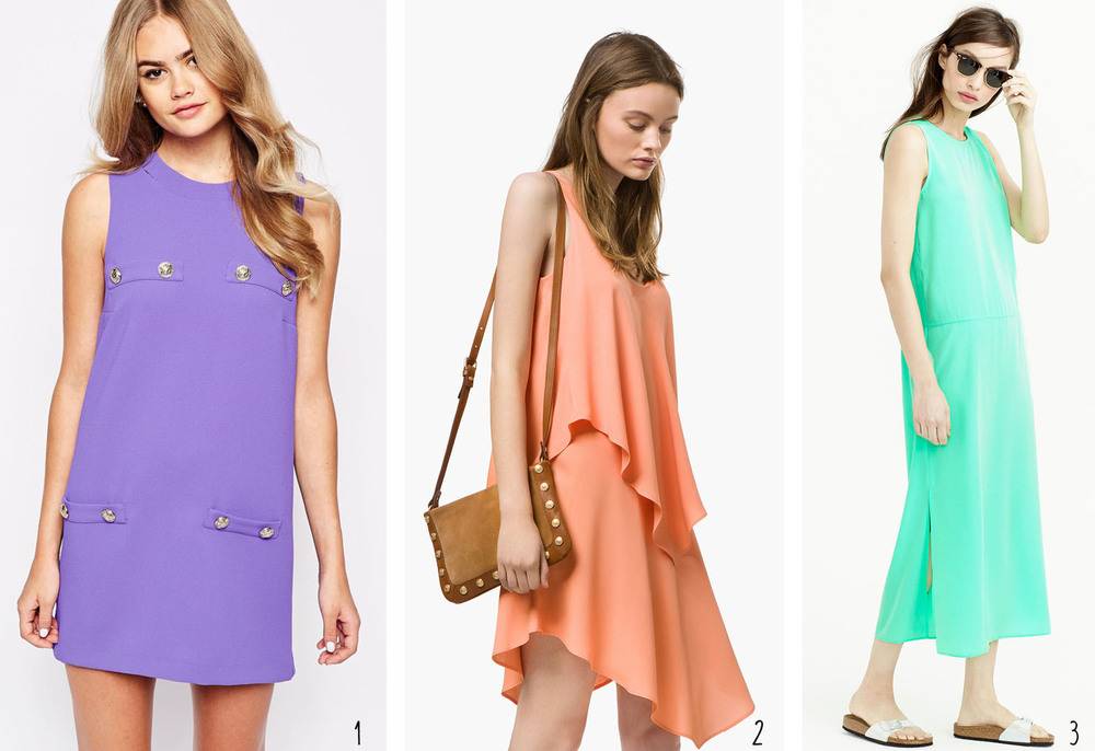 Pops of Color: 1. River Island Shift Dress from ASOS; 2. Layered Dress with Pointed Hem from Massimo Dutti; 3. Side Slit Maxi Tank Dress from J. Crew