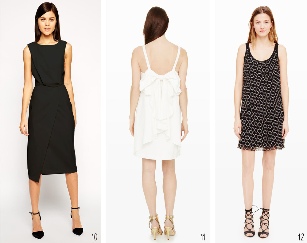 Black and White: 10. Pencil Dress with Drape & Asymmetrical Hem from ASOS; 11. Davie Bow Cocktail Dress from Club Monaco; 12. Mazzy Dress from Club Monaco
