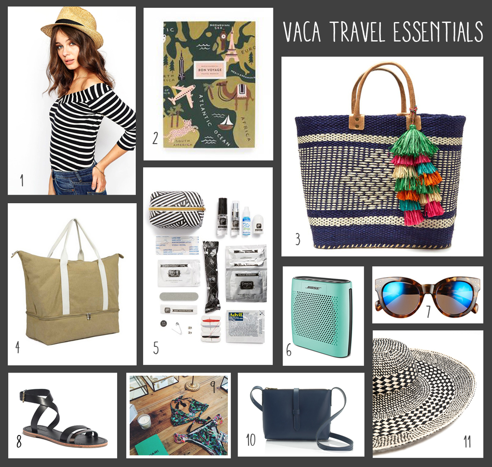 1. Straw Hat from ASOS; 2. Travel Journal from Rifle Paper Co; 3. Woven Tote from Nordstrom; 4. Weekender from Lo & Sons; 5. Pinch Provisions from Nordstrom; 6. Bose Portable Speaker; 7. Langham Sunglasses from Nordstrom; 8. Leather Strappy Sandals from Madewell; 9. Localeur App; 10. Cross-Body Bag from JCrew; 11. Floppy Sun Hat from Zara
