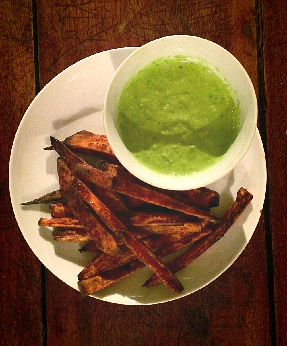 Crispy and delicious Sweet Potato Fries with Avocado Garlic Aioli!