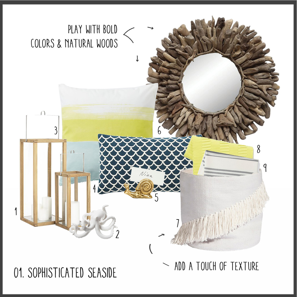 1. Wooden Hurricanes 2. Ceramic Octopus 3. Striped Pillow 4. Navy Scalloped Pillow 5. Snail Placecard Holder 6. Driftwood Mirror 7. Fringe Basket 8. Yellow Throw 9. Striped Blanket