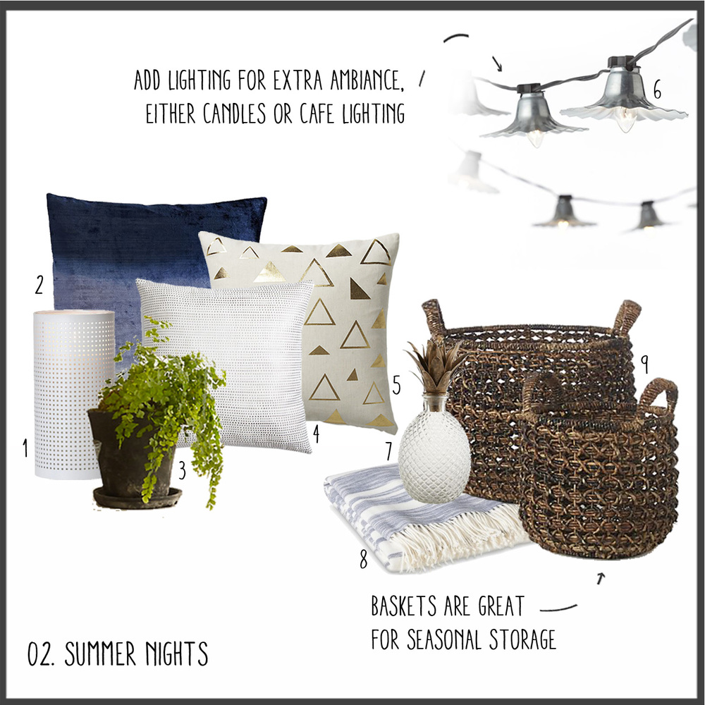 1. White Hurricane 2. Navy Velvet Pillow 3. Potted Plant 4. Metallic Dot Pillow 5. Tryst Gold Pillow 6. String Lights 7. Pineapple Decanter 8. Striped Blanket 9. Woven Baskets