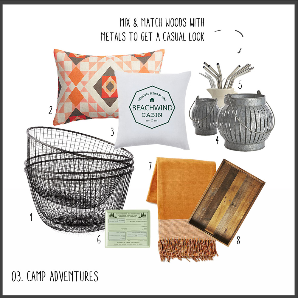 1. Metal Wire Baskets 2. Geometric Pillow 3. Beachwind Cabin Pillow 4. Galvanized Lanterns 5. Stainless Steel Straws 6. Serving Tray 7. Orange Blanket 8. Wooden Tray