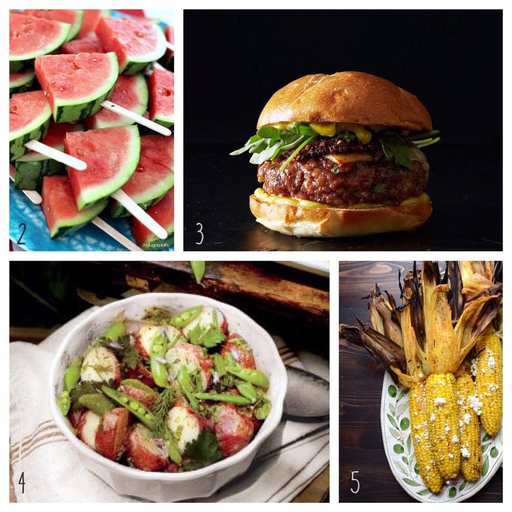 2. Watermelon Wedges on a Stick 3. The Perfect Burger 4. New Potato Salad 5. Corn on the Cob