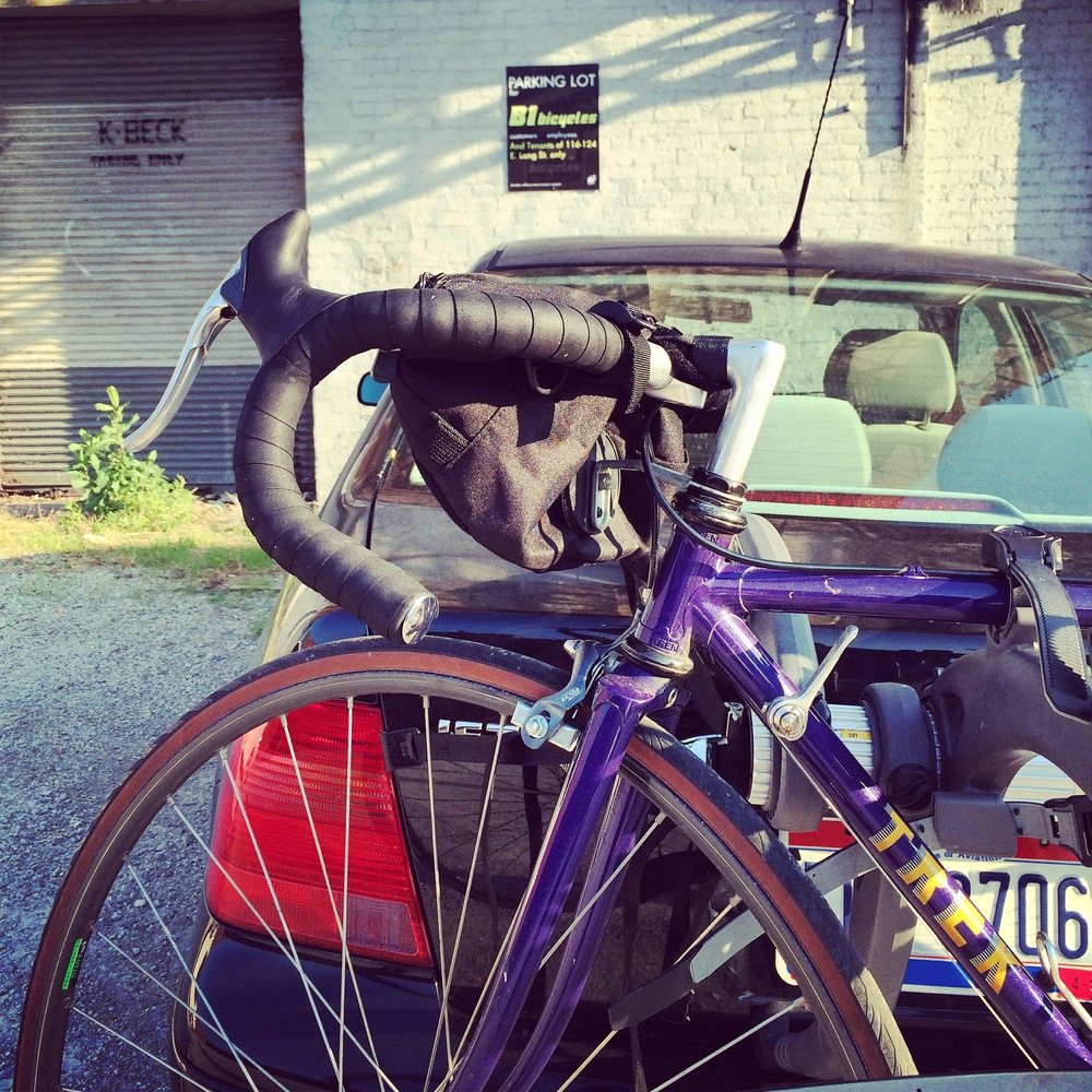 My sweet Trek bike (a find on Craigslist!) strapped onto the car for adventures to come!