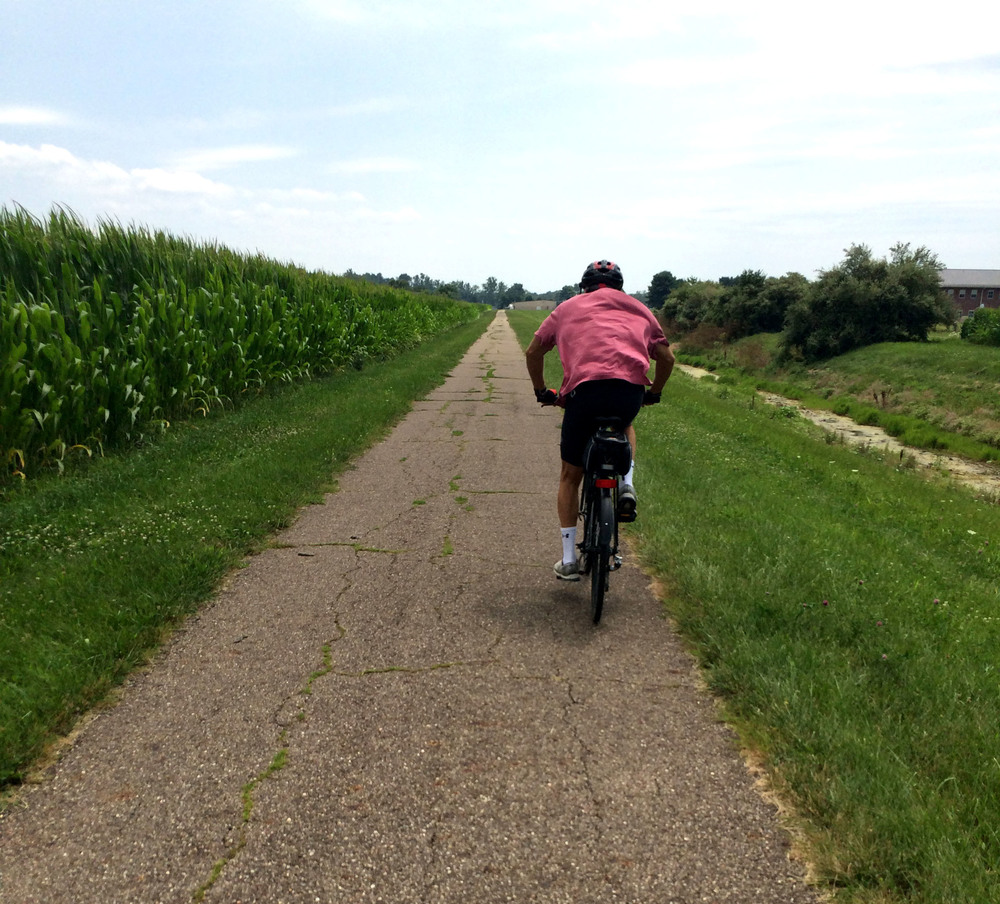 My dad and I trained alongside cornfields on the Thomas J. Evans and Panhandle Trail which goes from Johnstown to Hanover, passing through Granville and Newark along the way.