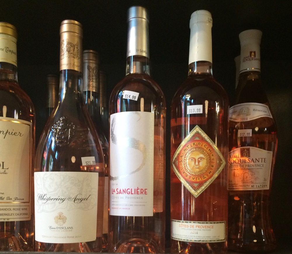 Rosé all day! Try La Sangliere (center) or Aimé Roquesante (far right)- both lovely, crisp, delightfully fruity and fresh Rosé wines from Cotes de Provence, France.