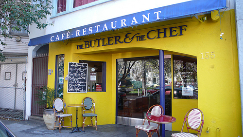 The bright and cheery exterior of The Butler and The Chef. Photo from here.
