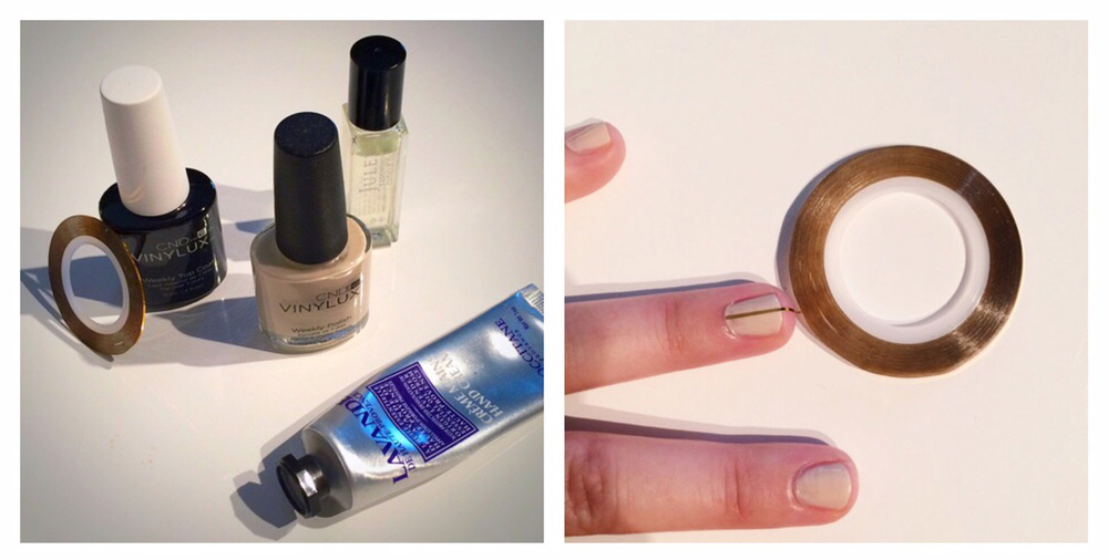 Supplies we used included: CND Vinylux Weekly Polish - Powder My Nose, CND Vinylux Top Coat, Gold Striping Tape, Julep Essential Cuticle Oil, & L'Occitane Lavender Hand Creme.