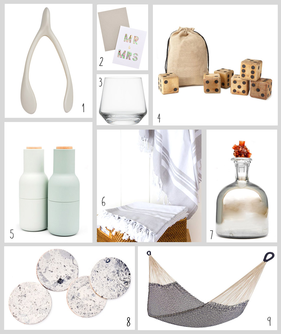 1. Rookwood Pottery Wishbone; 2. Mr & Mrs Notecard; 3. Double Old-Fashioned Glasses; 4. Yard Dice; 5. Spice Mill Set; 6. Peshtemal Towels; 7. Decanter; 8. Leather Coasters; 9. Cotton Rope Hammock